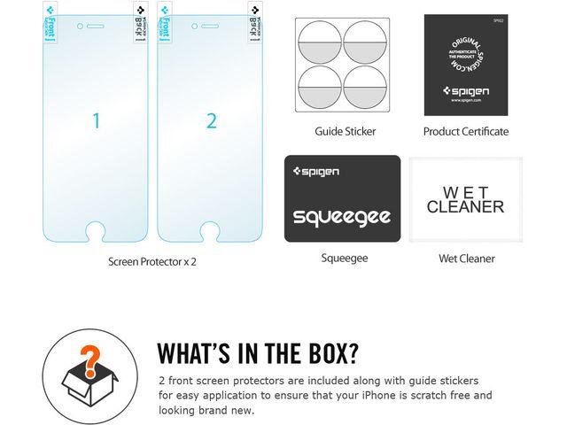 obsah balení Spigen ochranná fólie Steinheil Curved pro iPhone 6, čirá