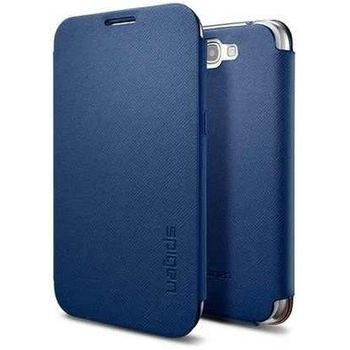 Spigen Samsung Galaxy Note II Folio Case kožené ochrané pouzdro modré