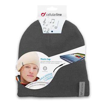 Zimní čepice CellularLine Music Cap s integrovanými sluchátky, konektor 3,5mm jack, šedá