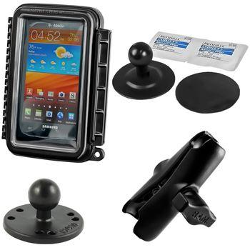 RAM Mounts vodotěsný držák na mobilní telefon na motorku nebo skútr se silným samolepícím úchytem, AQUABOX™ střední, sestava RAM-B-378-AQ2U