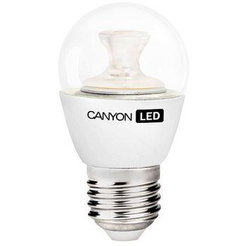 Canyon LED žárovka, (ekv. 40W) E27, kompakt kulatá, průhledná 6W, 470 lm, teplá bílá 2700K