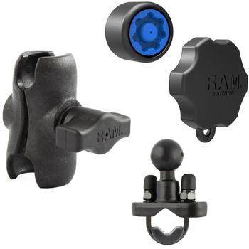"""RAM Mounts sestava pro držák s 1"""" čepem s  krátkým ramenem se zabezpečením na řídítka nebo tyč s objímkou pro Ø12,7-31,75 mm, sestava RAM-B-149Z-X-KNOB3-AU"""
