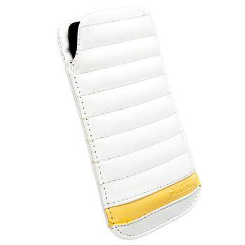 Krusell pouzdro Idre L Long - iPhone 5/iPod Touch 5.gen, Sony Xperia J  124x59x12mm (bílá/žlutá)